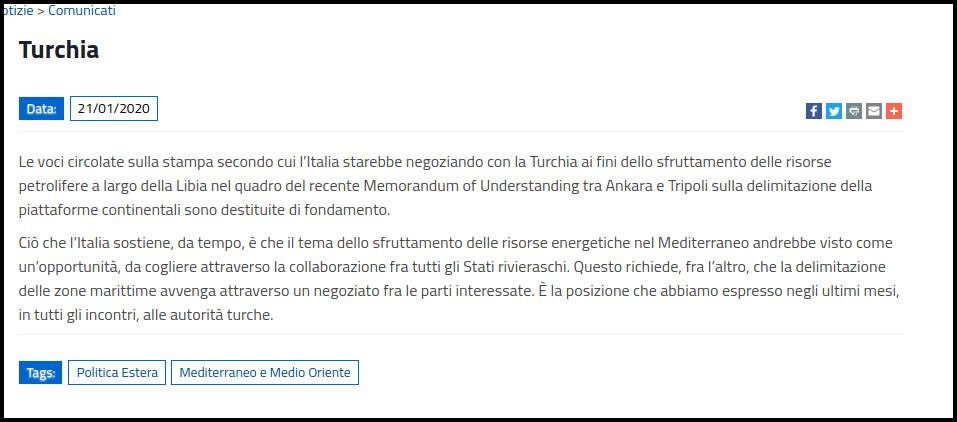 """Διαψεύδουν οι Ιταλοί τους ισχυρισμούς Ερντογάν για """"συνομιλίες"""""""