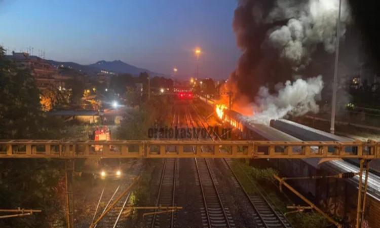 Φωτιά σε βαγόνια κοντά στον Σ.Σ. Θεσσαλονίκης